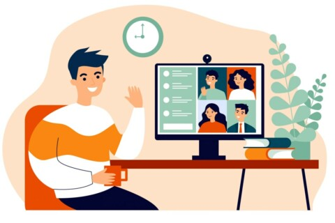 illustration of person smiling while in a virtual meeting
