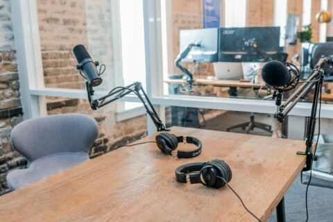 podcast equipment on a desk